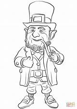 Leprechaun Coloring Printable Pages Clipart Fantasy St Patrick Drawing sketch template