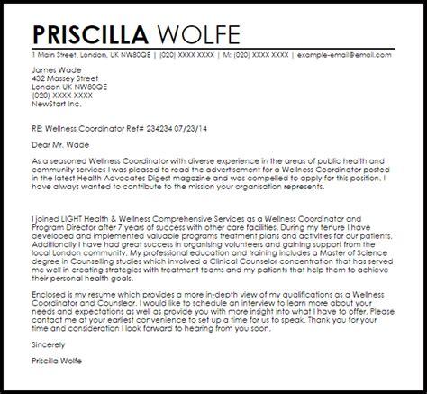 fitness coordinator cover letter wellness coordinator cover letter sle cover letter