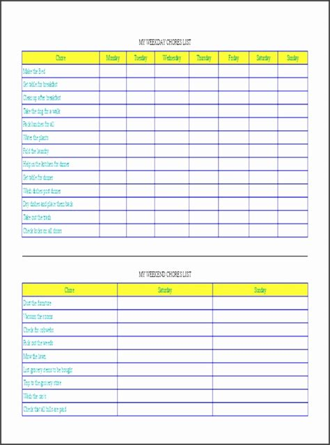 monthly chore chart template sampletemplatess