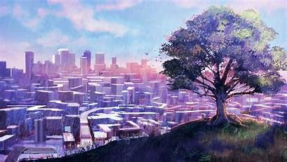 Anime Scenery Background Purple Wallpapers Landscapes Backgrounds