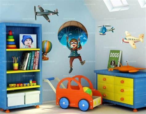 chambre garcon avion stickers enfants 4 appareils volants