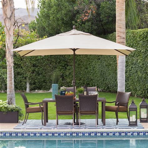 Umbrella Backyard by Coral Coast 8 X 11 Ft Aluminum Rectangle Patio Umbrella