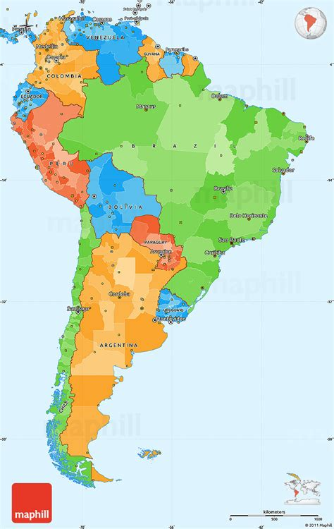 political simple map  south america