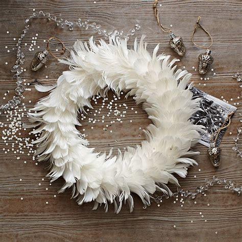 snowy white feather wreath decoist