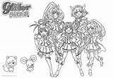 Glitter Force Coloring Pages Precure Characters Printable Print sketch template