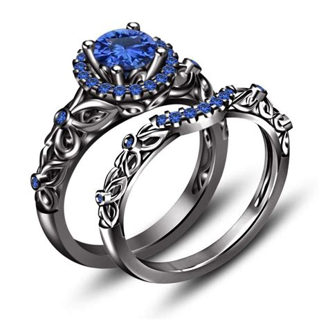black rhodium over 925 silver 1 70 ct blue sapphire princess snow white ring rings