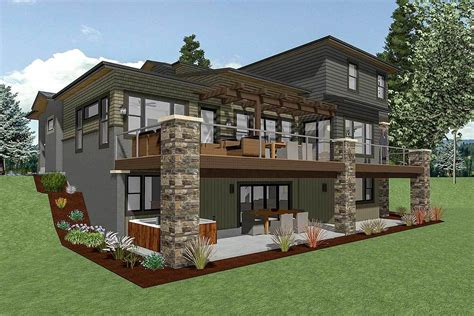 Plan 64452SC: House Plan for a Rear Sloping Lot in 2020