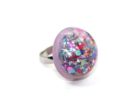 water glitter ring snow globe ring holographic moving glitter