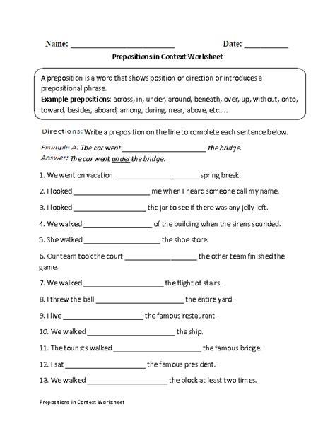 prepositions in context worksheet homework