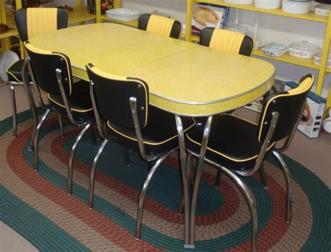 yellow retro kitchen table chairs interior exterior