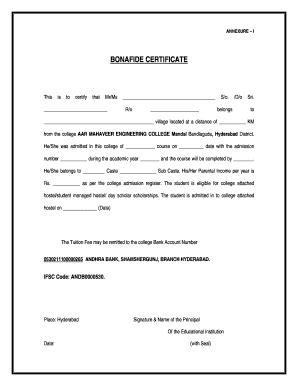 bonafide certificate format  school student