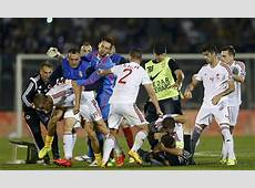 Serbia v Albania abandoned after players and fans brawl on