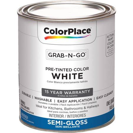 colorplace pre mixed ready to use interior paint white gloss finish 1 quart walmart com
