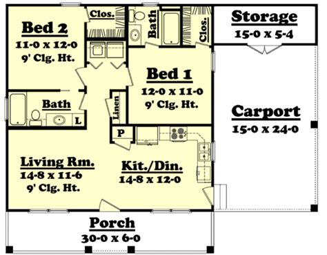 Country Style House Plan 2 Beds 2 Baths 900 Sq/Ft Plan
