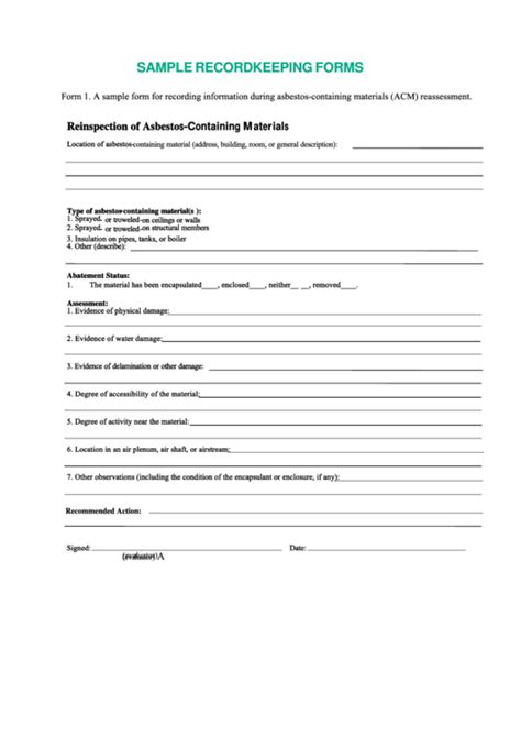 sample record keeping forms printable