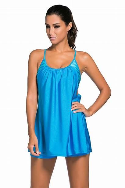 Tankini Swim Flowing Layered Swimwear 1pc Summer