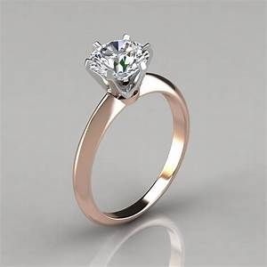 Six prong round brilliant solitaire engagement ring for Wedding rings to go with solitaire engagement ring