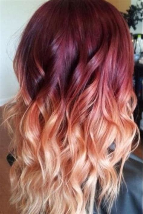 Red To Blonde Ombre Hair With Waves Ombre Hair Color