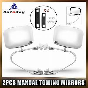 2pc Left U0026right Chrome Manual Towing Mirrors For 1980