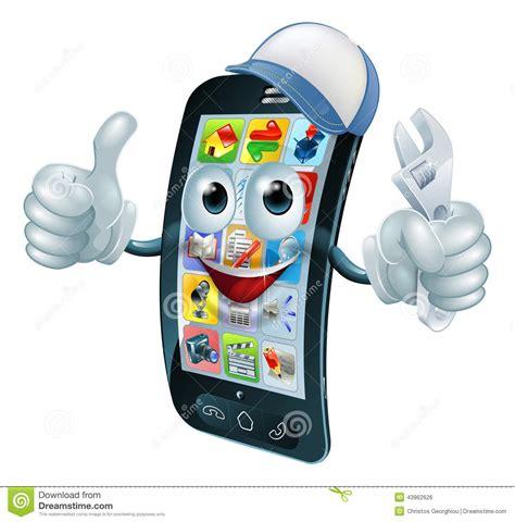 cell phone repairs mobile phone repair character stock vector image 43962626