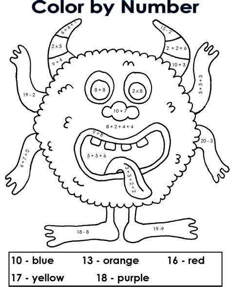 free printable color by number worksheets for 2nd grade addition color by number pages coloring home