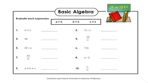 basic algebra printable worksheets worksheets for all