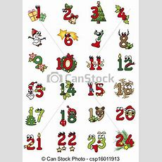 Natal, Números Christamas, Números, Ilustração, Isolado