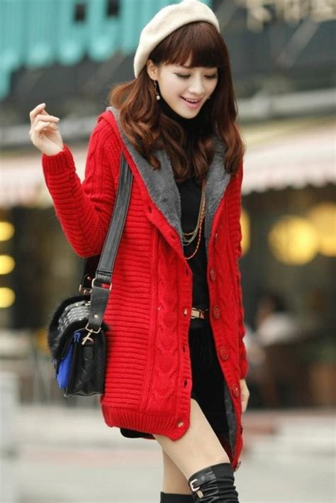 jaket korea knitted jacket baju winter coat korea