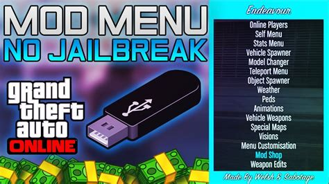 "16/12/2014 · video embedded · new gta 5 mod menu ps4/xbox one *no jailbreak/jtag* king modz. GTA 5: How to get ""MOD MENUS"" "" WITH USB NO JAILBREAK ..."
