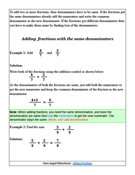 Adding Fractions With Like Denominaotrs