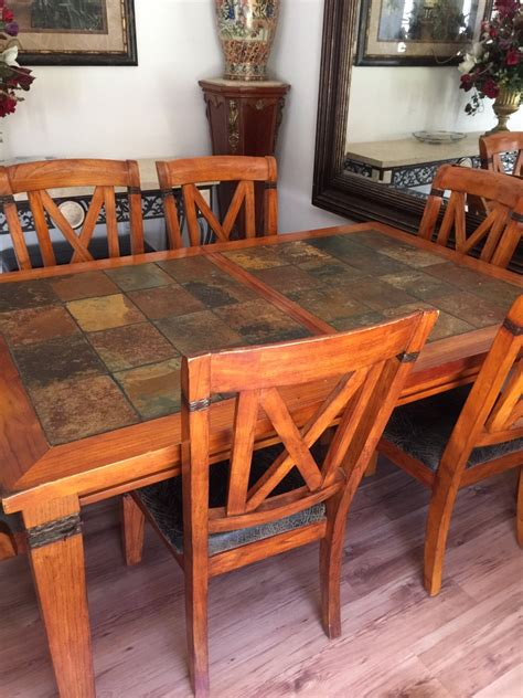 Letgo  Slate Wood Dining Room Table In Ocala, Fl