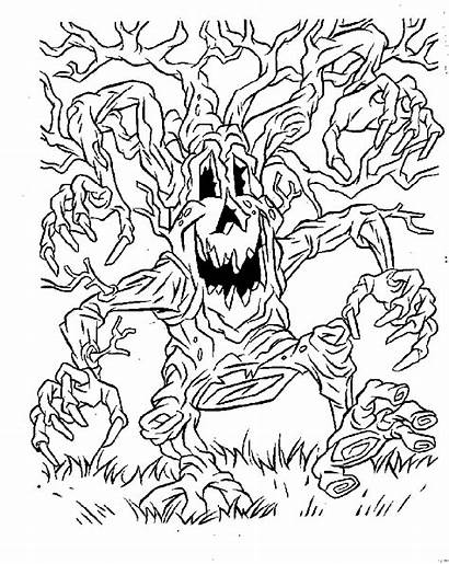 Coloring Halloween Pages Scary Printable Spooky Graveyard