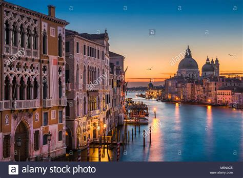 Venice Grand Canal Night Stock Photos And Venice Grand Canal