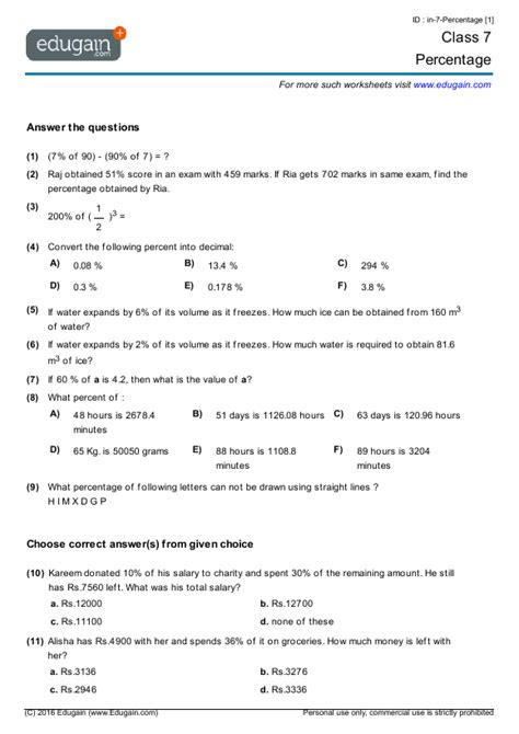 class  math worksheets  problems percentage edugain