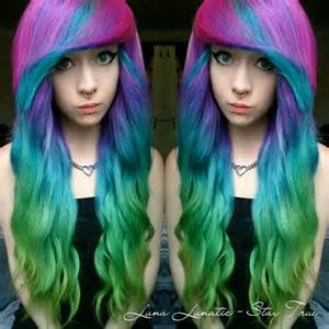 Blue Green and Purple Ombre Hair
