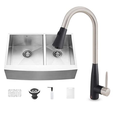 stainless steel kitchen sinks vigo all in one farmhouse stainless steel 33 in 0 8231