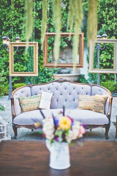 vintage couch   reception lounge outdoor wedding