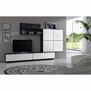 lue meuble tv mural 250cm coloris blanc brillant et noir With meuble salon moderne design 4 etagare design coloris noir caly bibliothaque et etagare