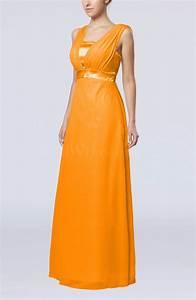 orange elegant empire thick straps sleeveless chiffon With orange wedding guest dress