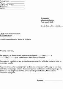 Modele Lettre Resiliation Assurance Moto Pour Vente : exemple de lettre pour r silier un abonnement un journal ou un magazine actualit s ~ Gottalentnigeria.com Avis de Voitures