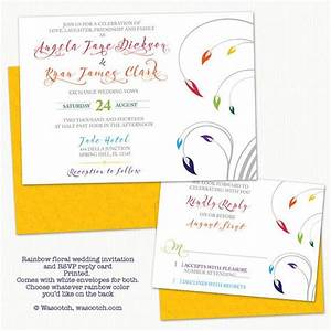 Rainbow Theme Floral Wedding Invitation and RSVP Reply ...
