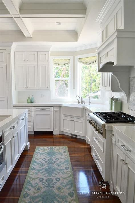 corner apron sink  wraparound windows transitional