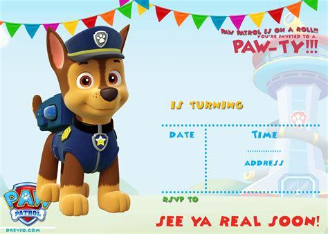 paw patrol invitation template free printable paw patrol birthday invitation ideas free invitation templates drevio