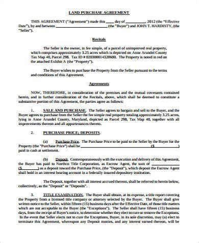 land purchase agreement sample  word  format