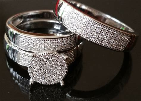 Sterling Silver Trio Rings Wedding Set His And Her 3pc11mm