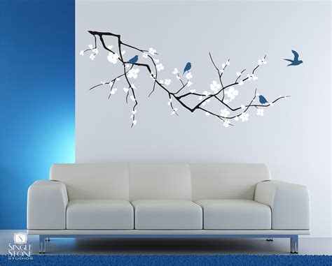 cherry blossom tree branch wall decal with birds vinyl wall