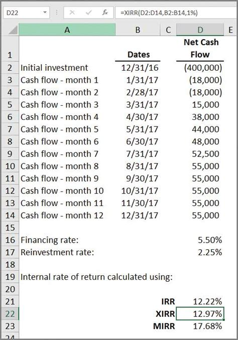 microsoft excel  ways  calculate internal rate
