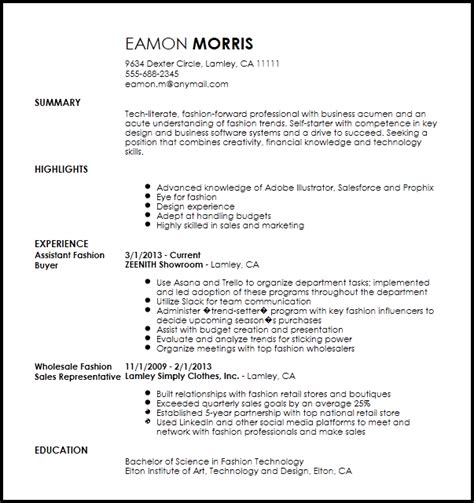 Assistant Buyer Resume by Free Contemporary Fashion Assistant Buyer Resume Template