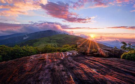 beautiful mountain sunset landscape hd wallpaper