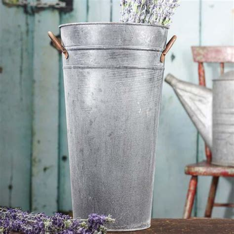 Galvanized buckets have always been a popular item to decorate with around your home! Ribbed Galvanized French Bucket - Decorative Accents - Primitive Decor